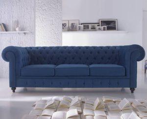Sofá chester en color azul